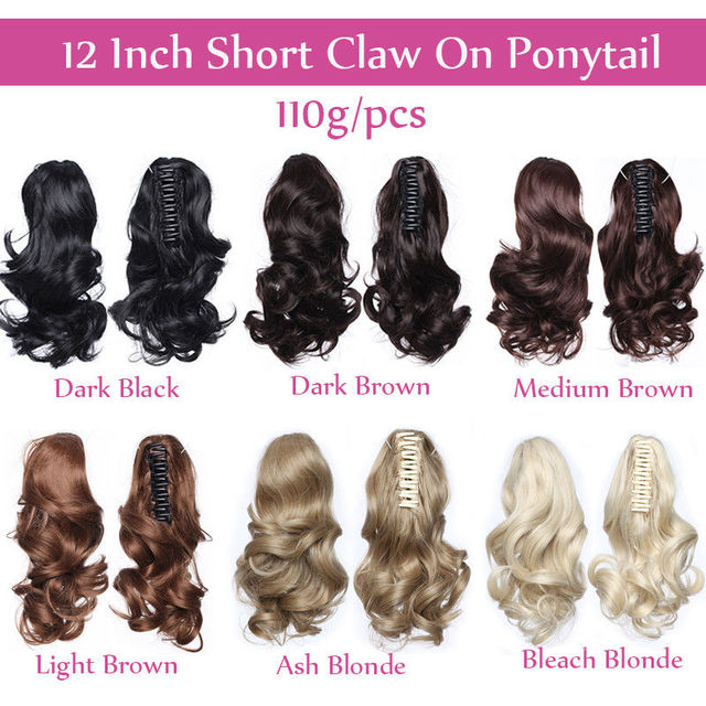 12″ Short Wavy Ponytail Hair Extensions Claw on Ponytails Synthetic Black brown Women's Hairpiece