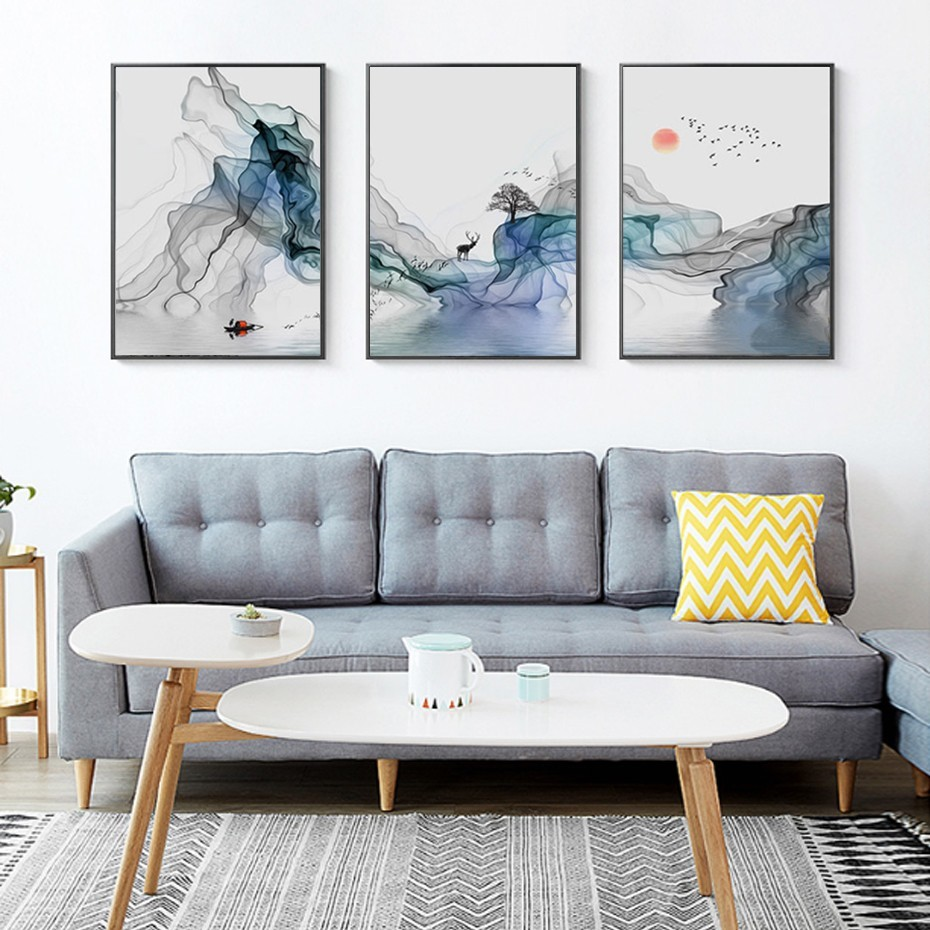 3pcs Abstract Sunrise Landscape Wall Art Canvas Paintings Nordic Picture Poster Print For Living Room Office Interior Home Decor