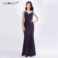Formal Evening Dresses for Wedding Ever Pretty EZ07513DP Elegant Purple V Neck Little Mermaid 2018 Cheap Long Party Gowns