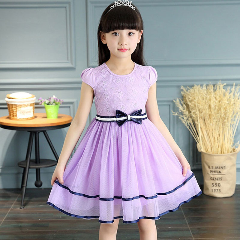 Summer Girls Dresses Bow lie Elegant Princess and Wedding Dress Costume for Kids Girl Birthday Dressing Children Outerwear Cloth girls dresses for party and wedding 2017 summer dress bow beads princess costume kids clothes for 2 6years old children y0067