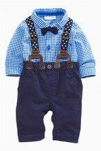 2 Шт. Малыша Мальчиков С Длинным Рукавом Пледы Рубашка + Подтяжки Брюки Набор