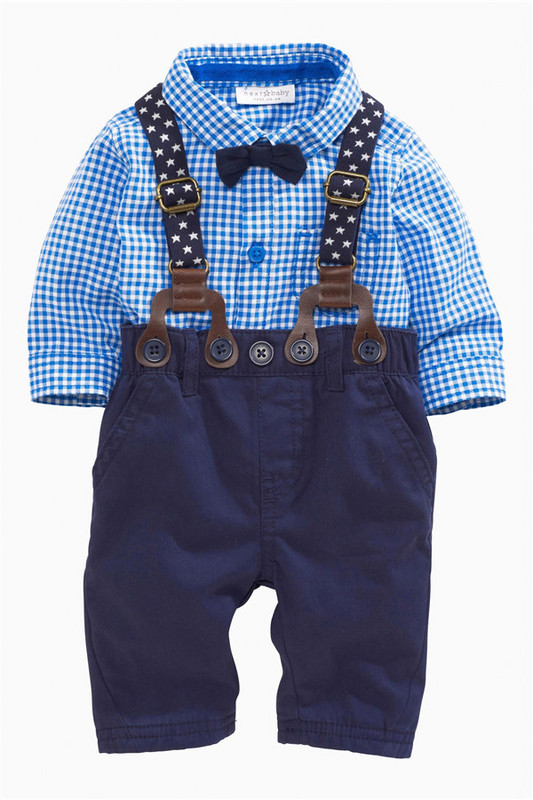 2Pcs Toddler Baby Boys Long Sleeve Plaids Shirt + Suspenders Pants Set