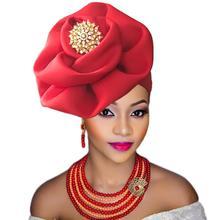 ターバン africain ファム女性のためのアフリカヘッドラップビッグフラワーキャップ結婚式のため