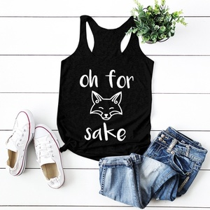 Oh for sake graphic Woman Summer New Fashion Tank Tops Cute Fox Print Sleeveless Shirts The I-shaped Vest singlet quote garment(China)