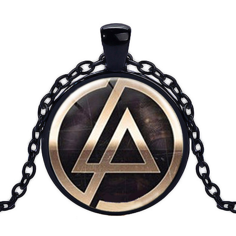 Boys Girls Christmas New Year Gift Linkin Park logo Pendant Necklace Glass Dome Pendant bijoux femme On Sale