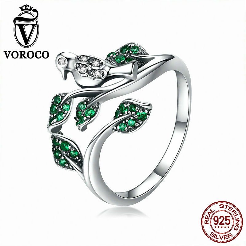 VOROCO Original 100% 925 Sterling Silver Glitter Bird On The Branch Adjustable Ring Green Zircon Stone Party Fine Jewelry BNR009