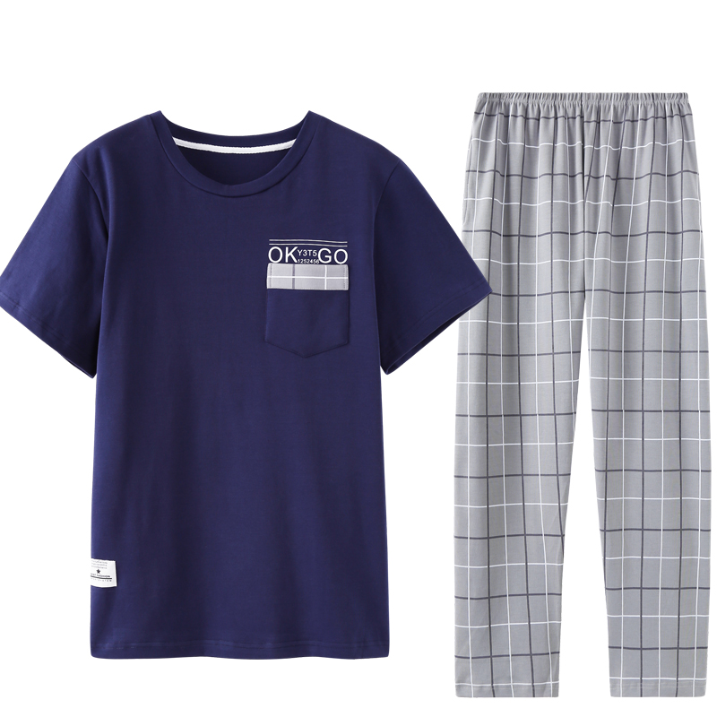 New Arrival Summer 100%Cotton Mens Pajamas Set Short Tops+Long Pants Sleepwear Round Neck Casual Plus Size L-3XL Male Pyjamas
