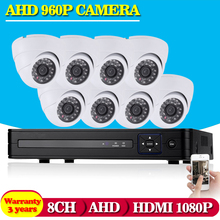 NINIVISION CCTV System HD 1080N 1080P 8CH DVR 8X960P 1.3MP AHD High Resolution Dome CCTV Camera 8 Channel Video Surveillance Kit