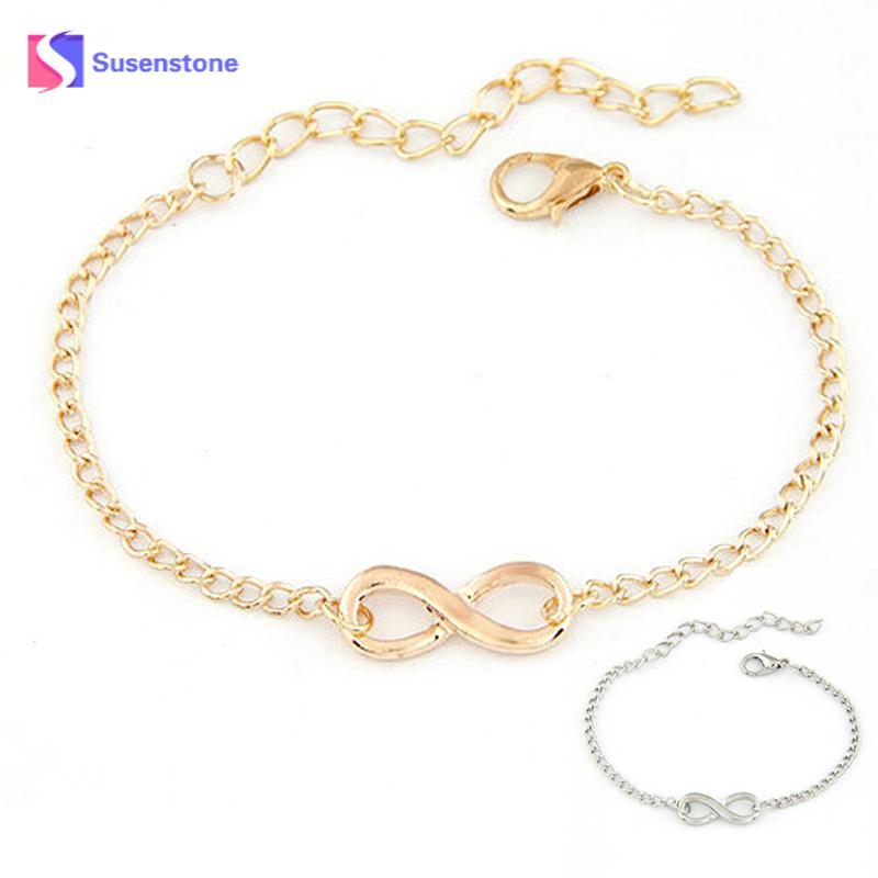 SUSENSTONE 2018 Fashion Link Chain Women Men Handmade Gift Charm 8 Shape Jewelry Infinity Bracelet Siver and Gold dropshipping-in Cuff Bracelets from Jewelry & Accessories on Aliexpress.com | Alibaba Group