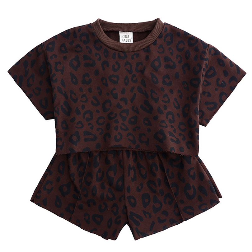 2019 Summer Fashion New Suit Toddler Kids Baby Girls Outfits Clothes Leopard T shirt Tops Shorts 2PCS Set Children Clothes in Clothing Sets from Mother Kids