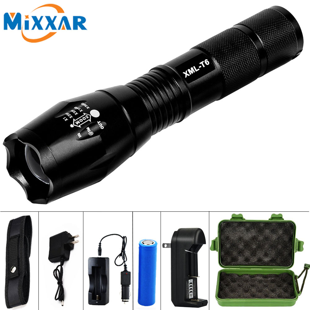 EZK20 CREE XML-T6 8000LM LED Zoomable Tactical flashlight Lamp Led Flashlight torch Light for 18650 Rechargeable Battery or AAA powerful led flashlight cree xm l2 xml t6 lantern rechargeable torch zoomable waterproof aaa or 18650 battery lamp hand light