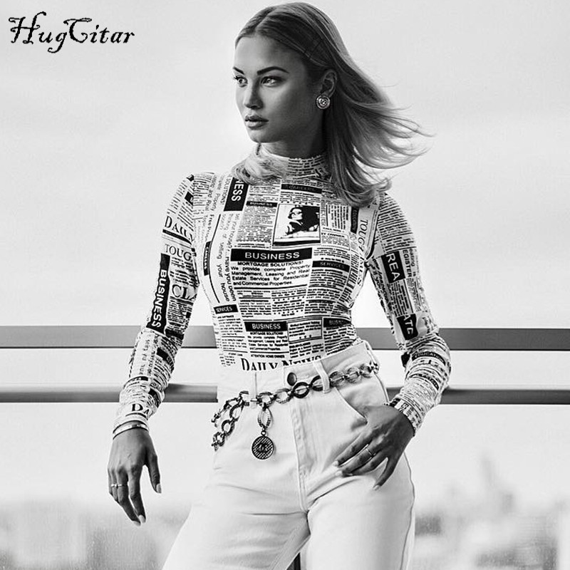 Hugcitar Long Sleeve High Neck Newspaper Print Sexy Bodycon Bodysuit 2019 Autumn Winter Women Fashion Body