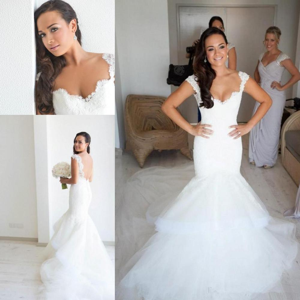4179932b3f8b 2014 Steven Khalil White Fluffy Tulle Bare Back Mermaid Wedding Dress Beach  Bridal Gown Sweetheart Appliques Pleated Sweep Train-in Wedding Dresses  from ...