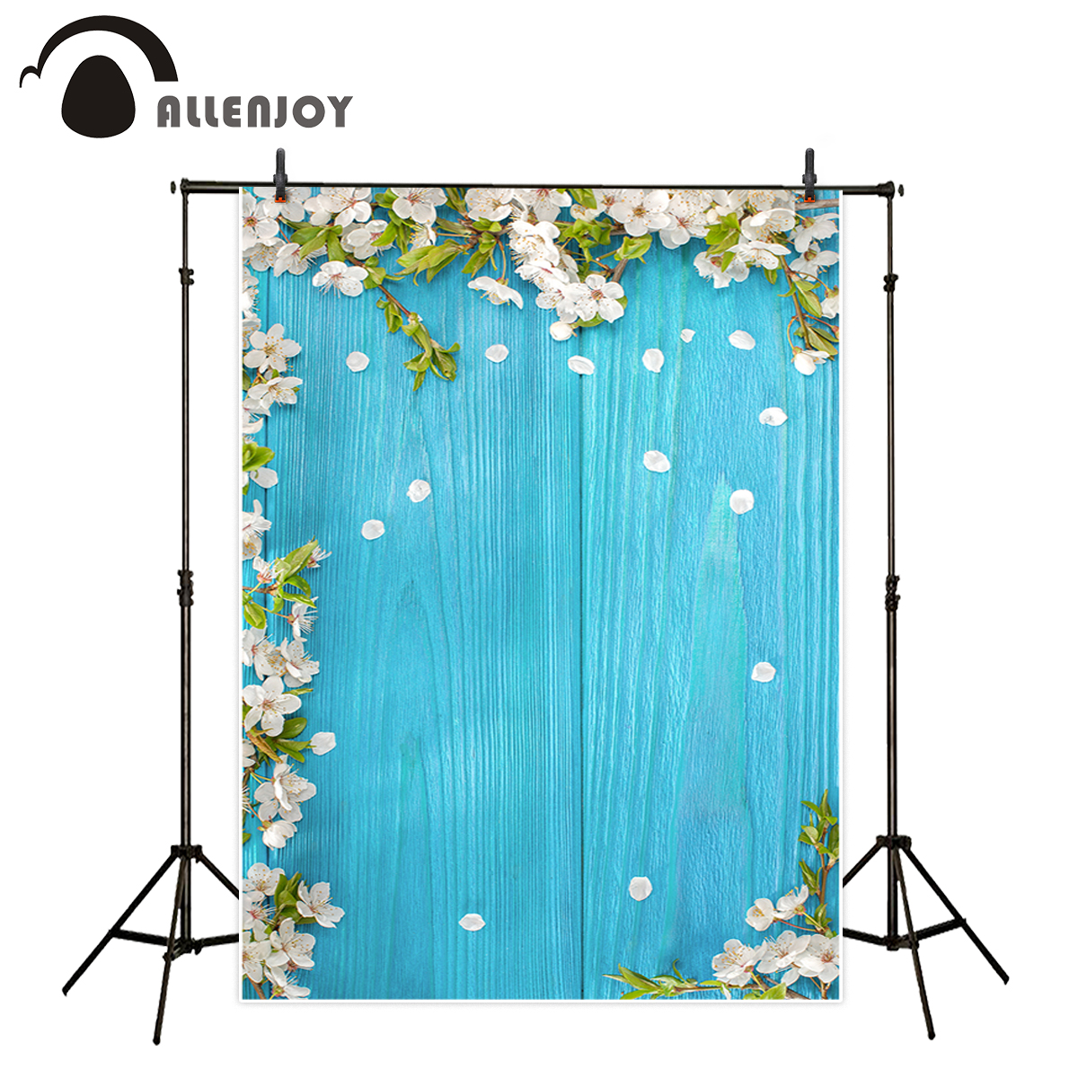 Allenjoy photography backdrop spring white cute flowers old wooden board background photo studio new design camera fotografica 5x7ft white backdrop board photo background photography white studio cloth flower rattan corridor