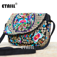 Hot Ethnic Hmong Boho Indian Embroidered Small Shoulder Bag Handmade Fabric Embroidery Crossbody Bags Luxury Brand