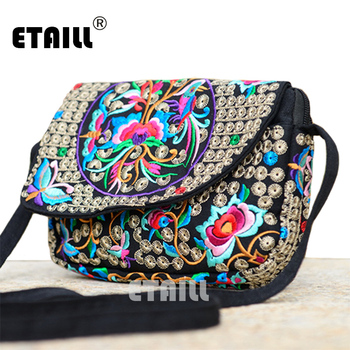 Hot Ethnic Hmong Boho Indian Embroidered Small Shoulder Bag Handmade Fabric Embroidery Crossbody Bags Luxury Brand Messenger Bag embroidery