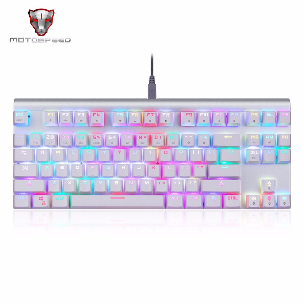 Motospeed CK101 Wired Mechanical Keyboard Metal 87 Keys RGB Blue Red Switch Game keyboard LED Backlit Anti-Ghosting for Computer