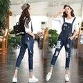 Summer Style Women Denim Jumpsuit 2017 New vintage rompers womens Jumpsuit Jeans Holes Female Overall Playsuit Plus Size B593