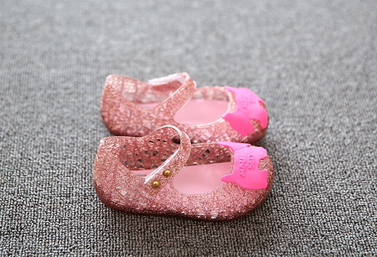 17 new fashion girls shoes Bow jelly sandals female child soft outsole princess shoes open toe shoes kids sandals baby shoes 14