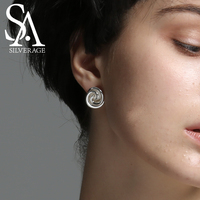 SA SILVERAGE Real 925 Sterling Silver Rose Stud Earrings Fine Jewelry For Women 2016 New Gift