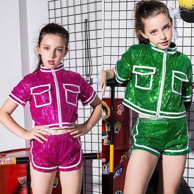 65214d6f3d04 Girls Ballroom Sequined Modern Jazz Hip Hop Dance Competition ...