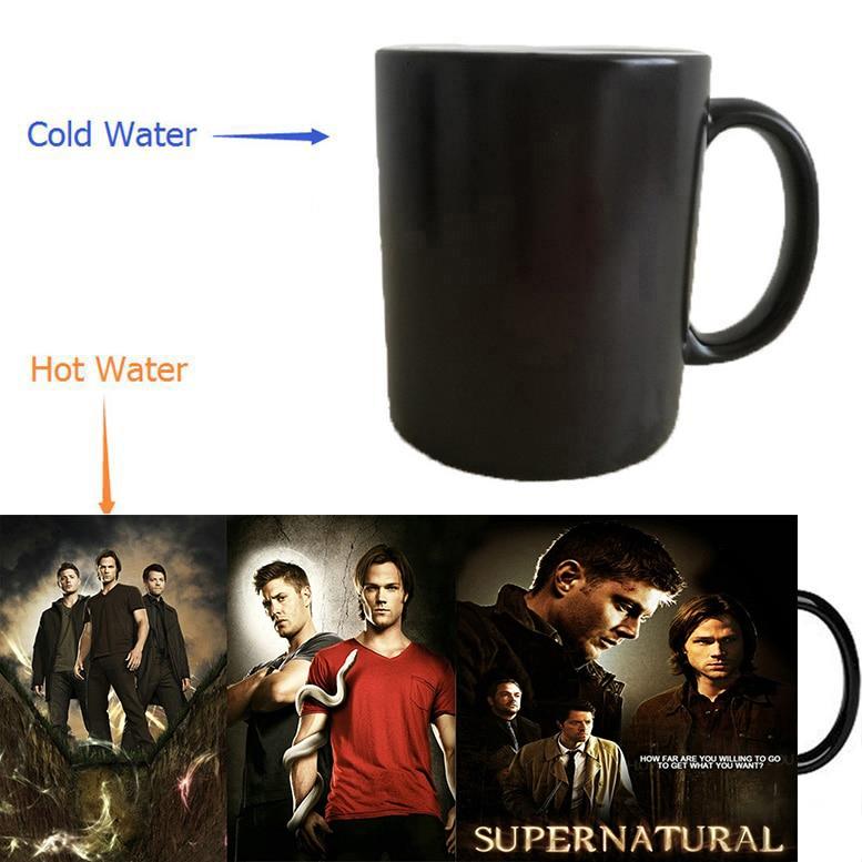 Supernatural mugs Dean Sam Winchester mug heat changing color heat reveal magic tea coffee mugen ceramic