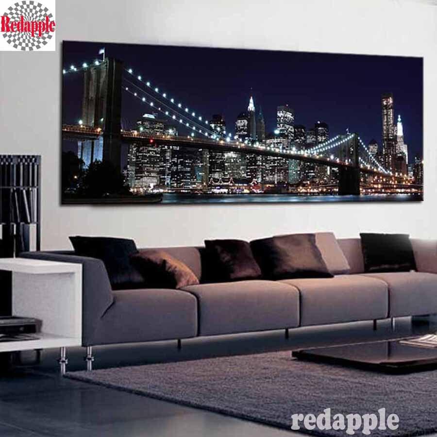 5D DIY Алмазная картина, алмазная вышивка, Нью Йорк, Бруклинский мост декоративный, стразы, украшение для дома