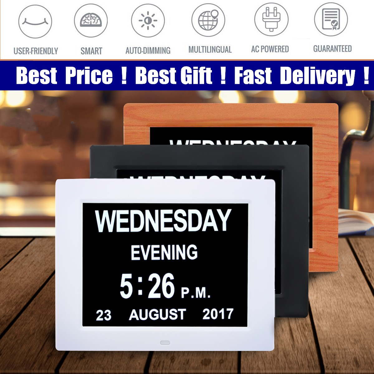 Popular 8'' LED Dementia Digital Calendar Day/Week/Month/Year Clock Large Letter Gifts LCD Display