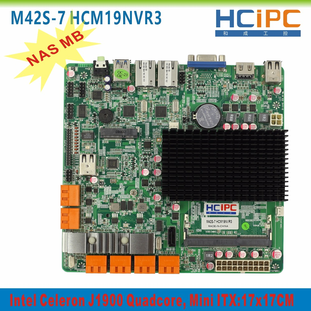 Prix pour HCIPC M42S-7 HCM19NVR3, 13 SATAIII Ports, 2 Giga LAN, 1 * COM, 8 * USB2.0, VGA + HDMI, ATX, Mini ITX carte mère, 13 SATAIII NAS ITX Mainboard