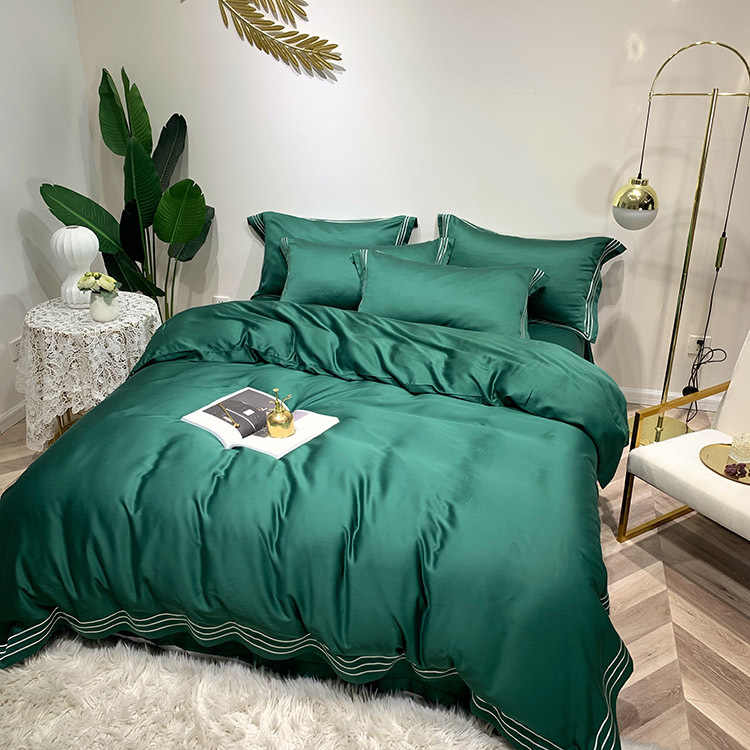 High-end emerald pure-color 4pcs Tencel bedding quilt sheet pillowcase in spring and summer