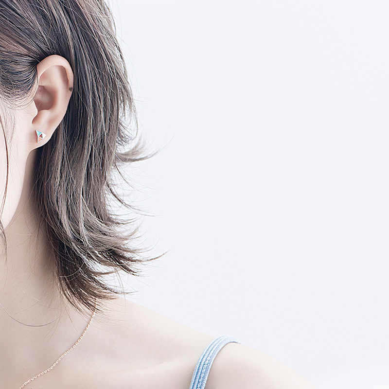Lidavi 925 כסף אקריליק מרקם חלול מעגלי גיאומטרי בלוק משולש Stud עגילים עבור אופנה ילדה תכשיטי VES6205