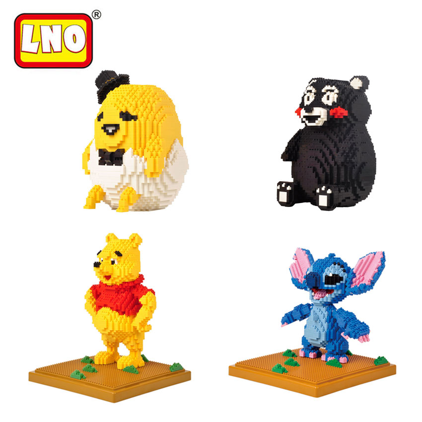 LNO Hobbies Nano Blocks Cute Bear Gudetama 3D Model Japanese Anime Stitch Kumamon Mini Building Bricks Educational Toys For Kid