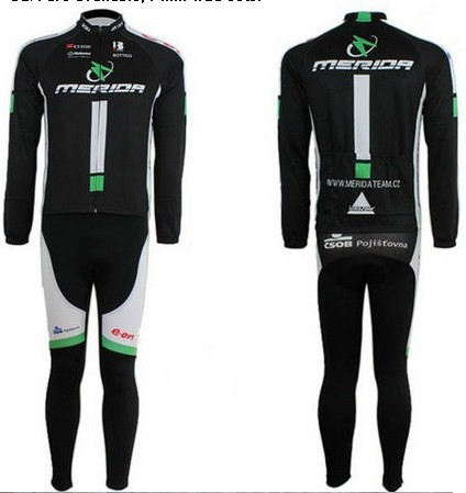 Free shipping MERIDA 2010 cycling Team wear clothes tights bicycle MTB Road bike riding cycle long sleeve jersey Z123 sets kits