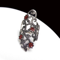 Long Baolong silver jewelry S925 pure silver new wide red face pomegranate long open index finger ring ring lady gift
