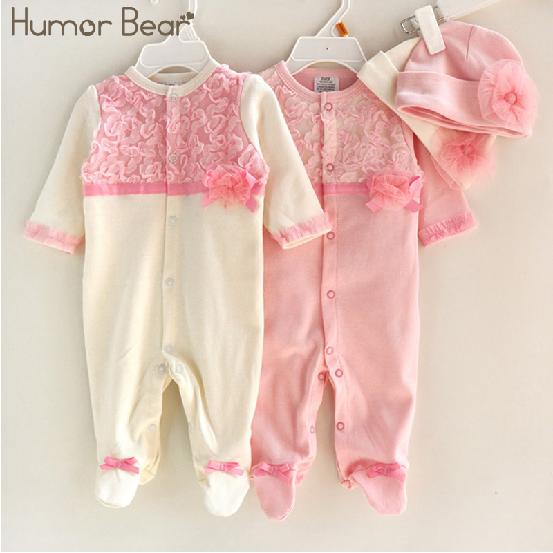 Купить со скидкой Humor Bear Princess Style Baby Girl Clothes Girls Lace Rompers+Hats Baby Clothing Sets Infant Jumpsu