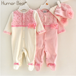 Humor Bear Princess Style Baby Girl Clothes Girls Lace Rompers+Hats Baby Clothing Sets Infant Jumpsuit Gifts