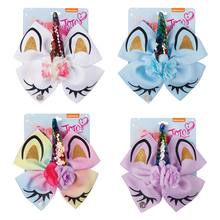4Pcs/Lot 6 JoJo Siwa Unicorn Hair Bows for Girls Glitter Print JOJO BOWS with Flower Sequin Horn Wholesale Accessories