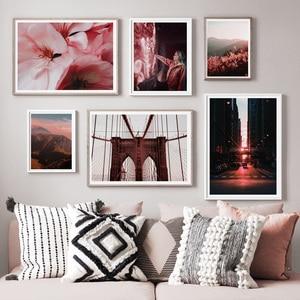 Image 2 - ブルックリンブリッジ山の花風景ウォールアートキャンバス絵画北欧ポスターやプリント壁の写真リビングルームのインテリア
