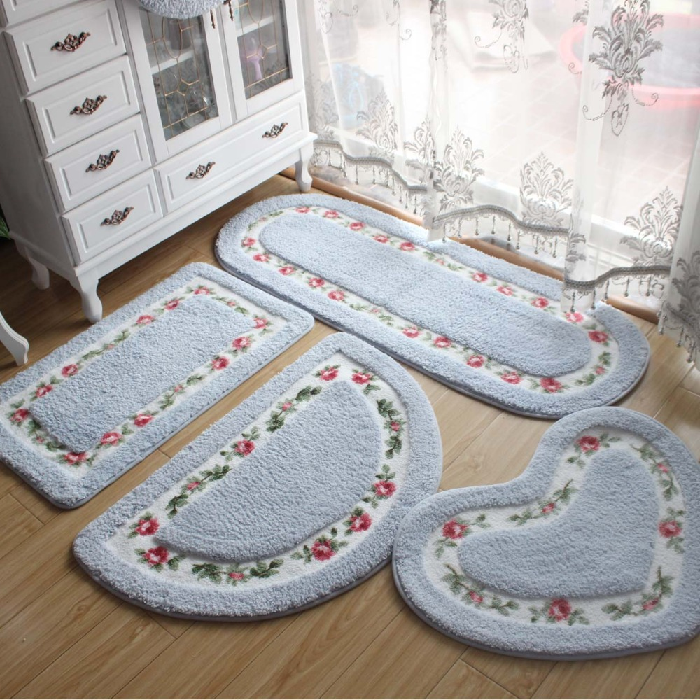 Pastoral Style Bathroom Rug Tapete Para Banheiro Microfiber Bathroom Carpet Non Slip Pink Blue Red Oval Bath Mat Soft Floor Mat