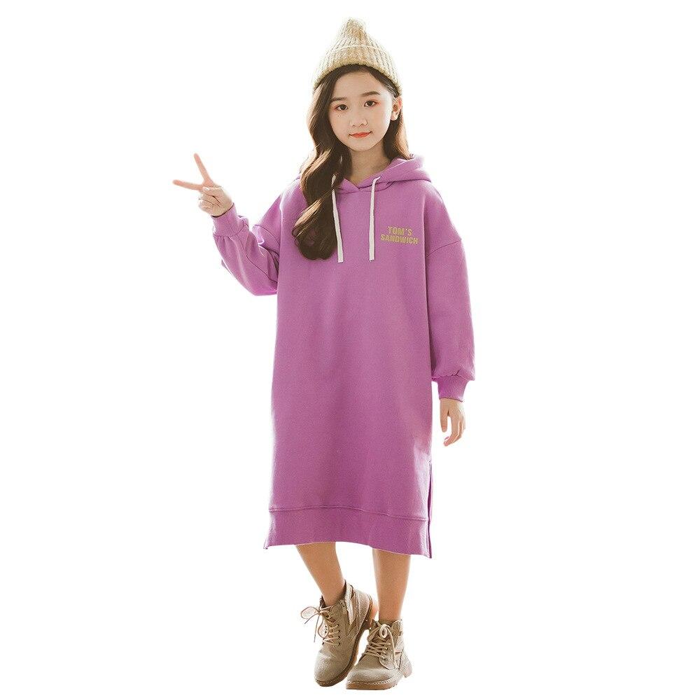 Enfants filles robe coton à manches longues filles vêtements automne hiver décontracté enfants filles robe 3 4 5 6 7 8 9 10 11 12 ans