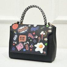 Graffiti Druck Cartoon Frauen Pu-leder Tasche Zeichnung Worte Damen Frauen Handtaschen Neue Berühmte Marke Mode frauen Umhängetasche
