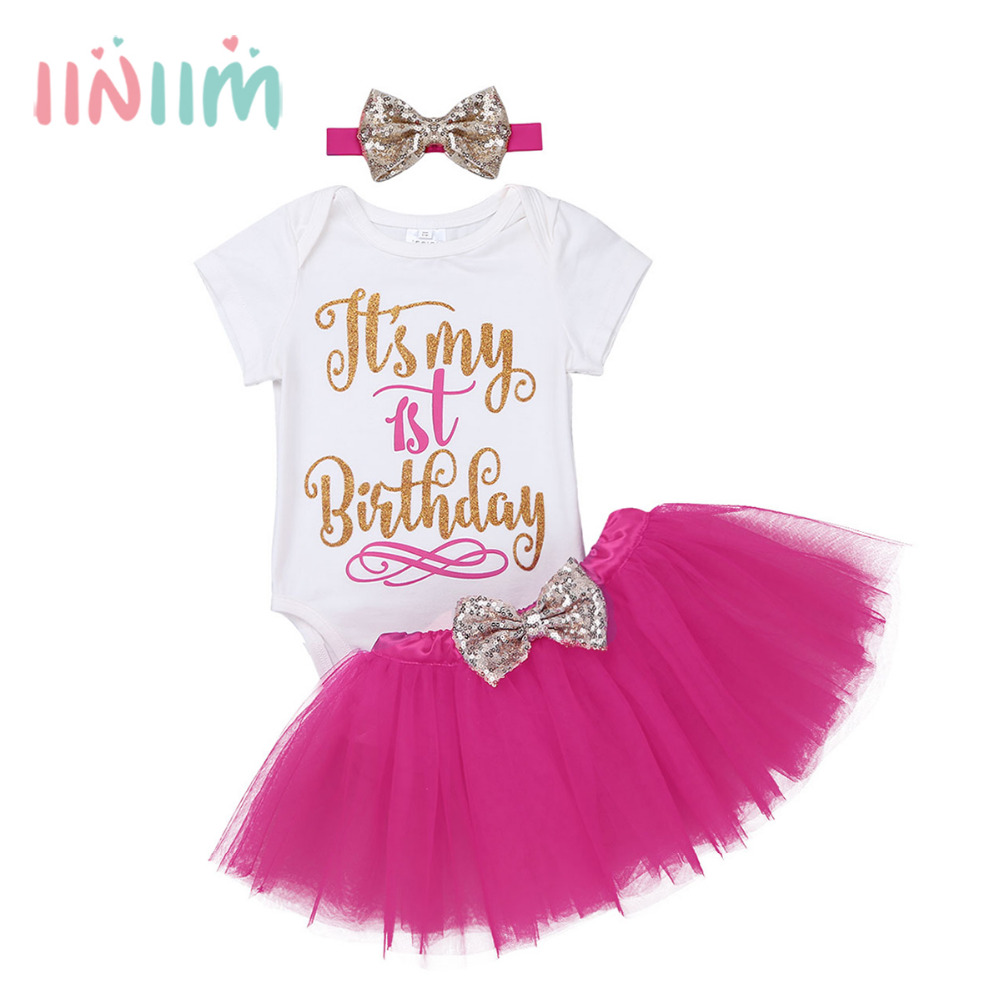 26198ecd25fe Infantil Baby Girls Outfit Clothing Short Sleeves Glittery Letters Printed  It is My 1st Birthday Romper with Tutu Skirt Headband-in Clothing Sets from  ...