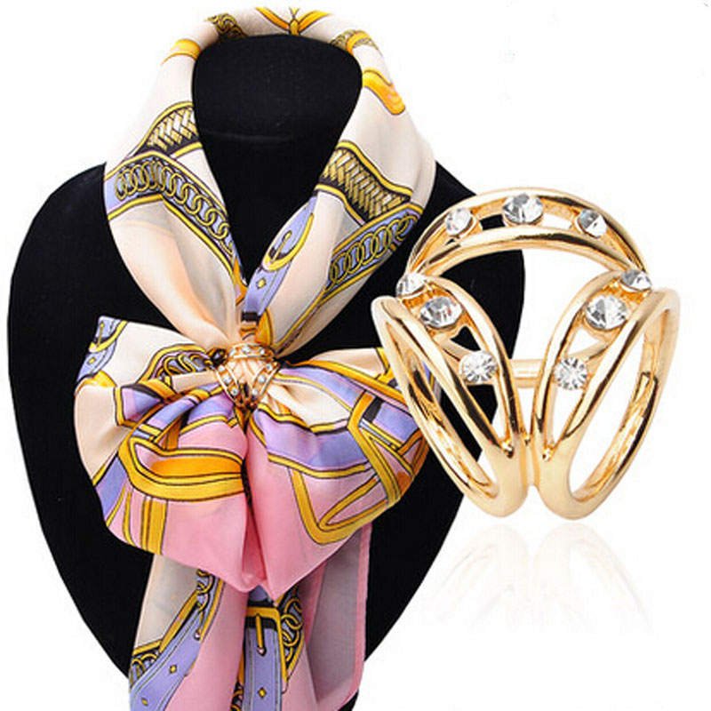 Classic Style Korean High Quality Silk Accessories Fashion Simple Tricyclic Hollow Crystal Scarf