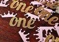 Блеск Золота Розовый девочка Первый День Рождения Конфетти, и Корона Украшения Партия Фавор