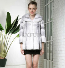 2015 Deluxe Womens Genuine Import Whole Cross Mink Fur Overcoats with Big Mink Tippet Winter Real Mink Fur Long Coats LX00623