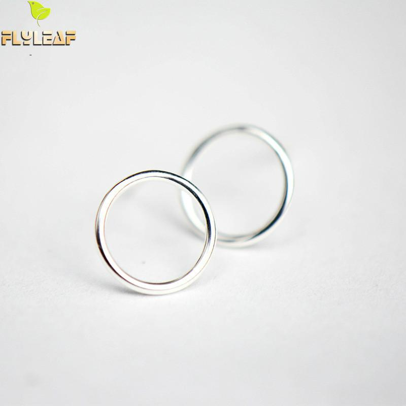Flyleaf 100 925 Sterling Silver Hollow Round Circle Stud Earrings For Women Simple Fashion Party Jewelry in Stud Earrings from Jewelry Accessories