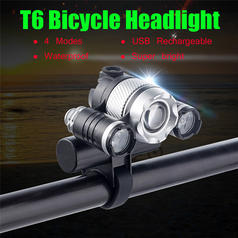 USB Rechargeable XML T6 LED Bicycle Bike Cycling Front Head Lamp Light 3 Modes