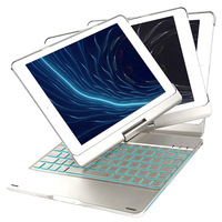 Funelego New iPad Keyboard Case F180S 7 Colors LED Breathing Backlight Keyboard with 360 Degree Rotatable Cover For iPad Pro 9.7