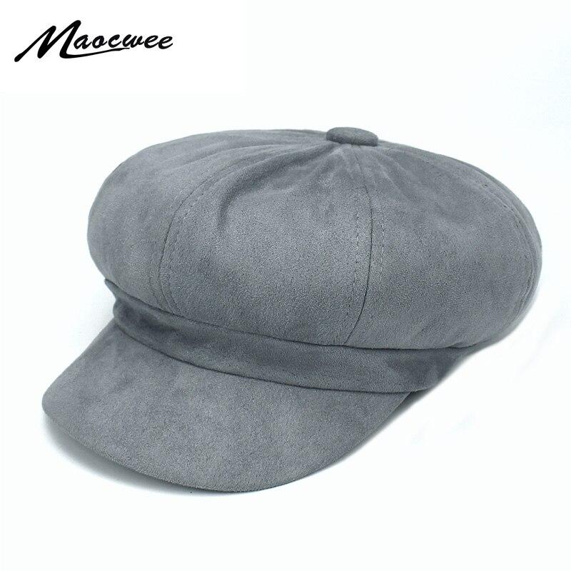 Vintage Solid Suede Beret Hat Women 2018 Autumn Winter Fedora Hats Newsboy  army octagonal cap Fashion Girl s Women Beret Hat 9cdc82742fa8