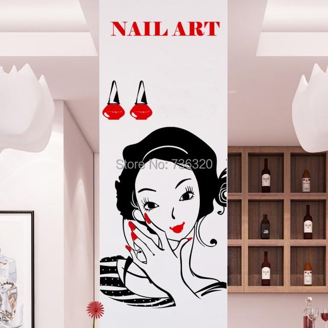 Neue Sexy Girl Nagel Vinyl Wandtattoo Schlafzimmer Nagel Salon Friseur  Schönheit Nagel Maniküre Wandaufkleber Nagel Schaufenster